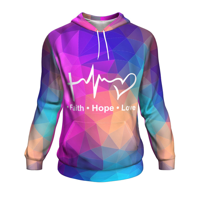 Christian Unisex Hoodie - Faith,Hope, Love All Over Print Hoodie