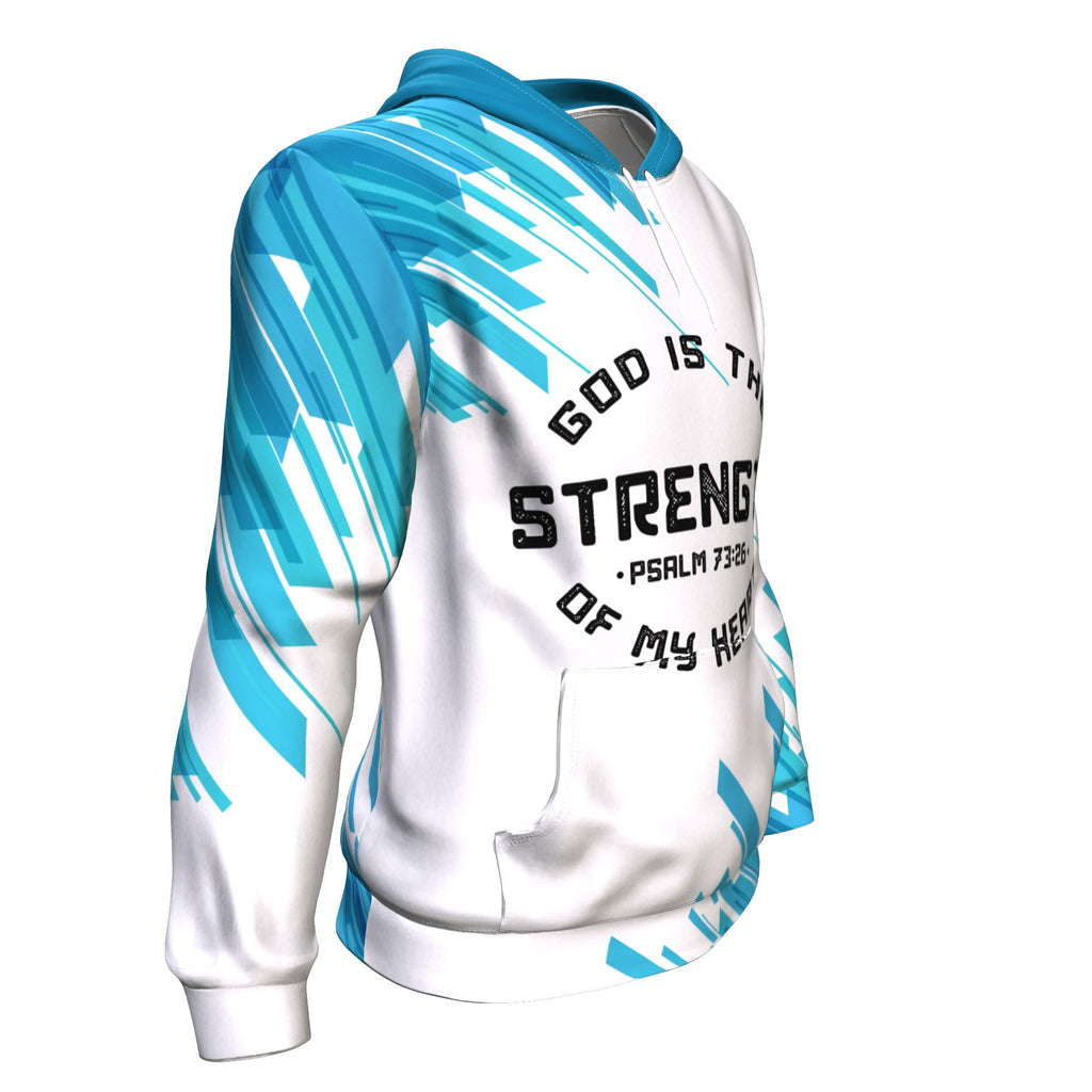 Christian AOP Hoodie, God Is The Strength Of My Heart