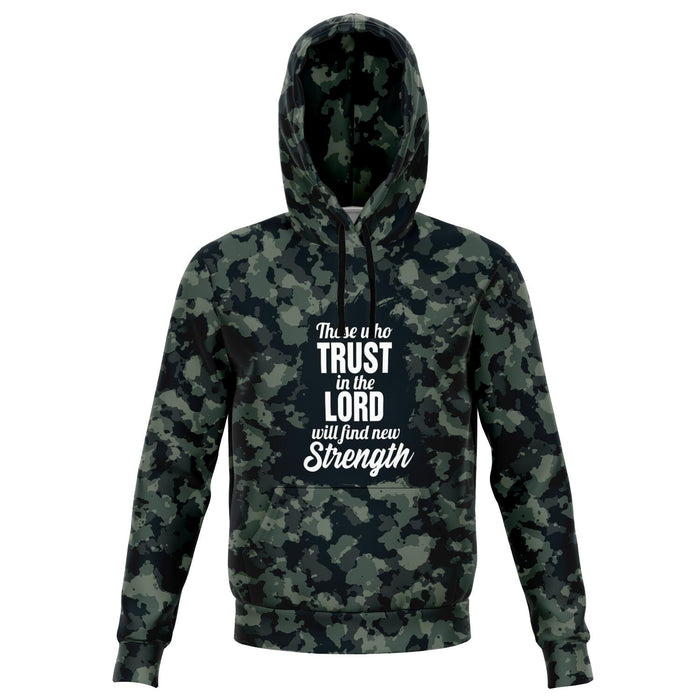 Christian AOP Fashion Hoodie - Those Who Trust In The Lord Will Find New Strength (Isaiah 40:31), Scripture and Quotes Unisex All Over Print Hoodie