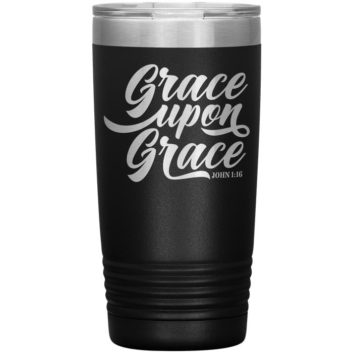 Scripture 20oz Tumbler - Grace Upon Grace (John 1:16) Travel Mug - Christian Tumbler - Gift for Christians