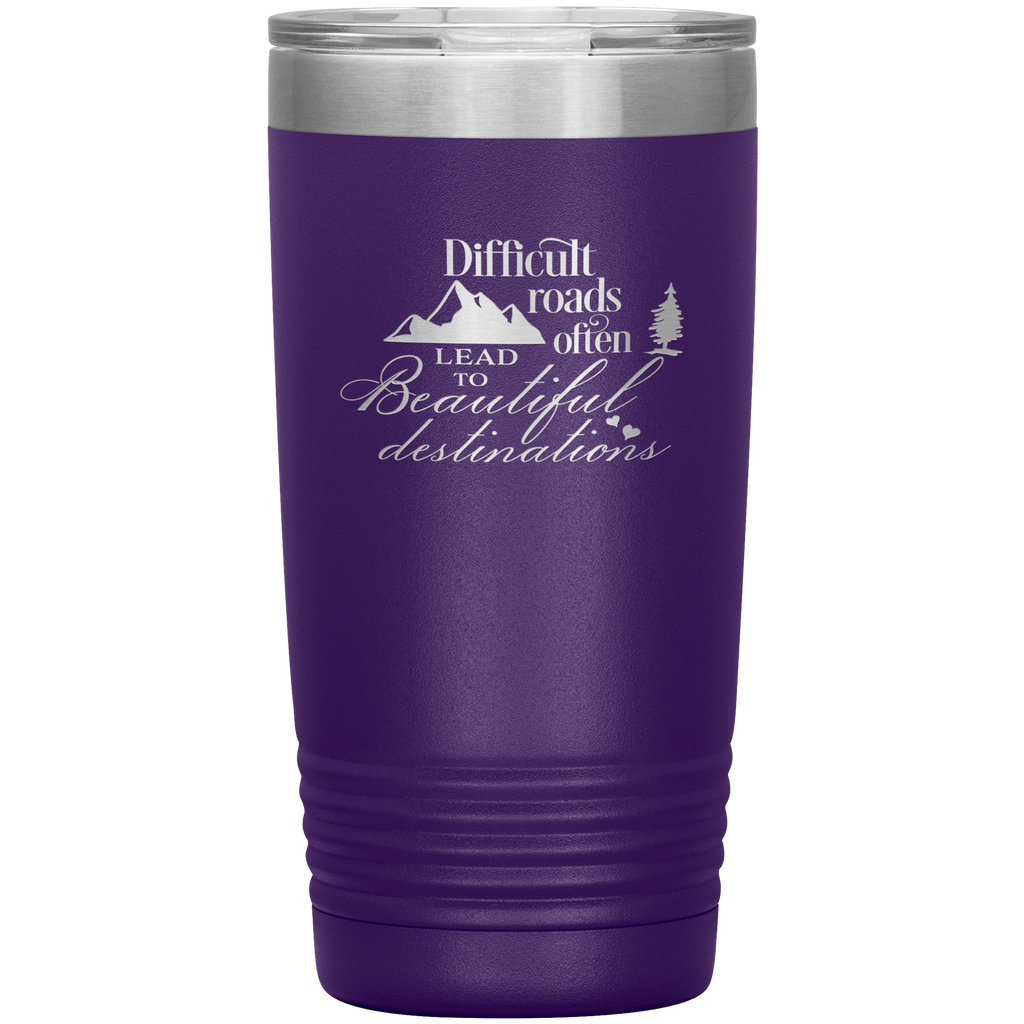 Christian Tumbler 20oz (Difficult Roads Often Leads to Beautiful Destinations) - Scripture Travel Mug Perfect Gift to Christian Friends
