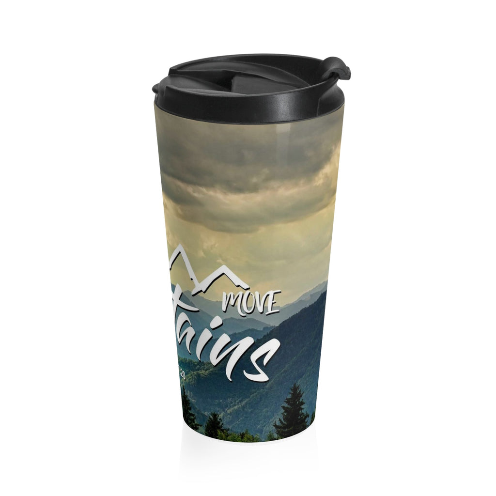 Christian Travel Mug 15 oz (Matthew 17:20, Faith Can Move Mountains)