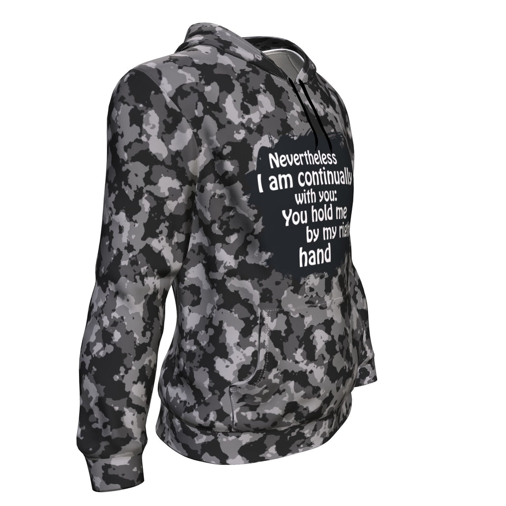 Christian AOP Unisex Hoodie - Nevertheless I Am Continually With You (Psalm 73:23)