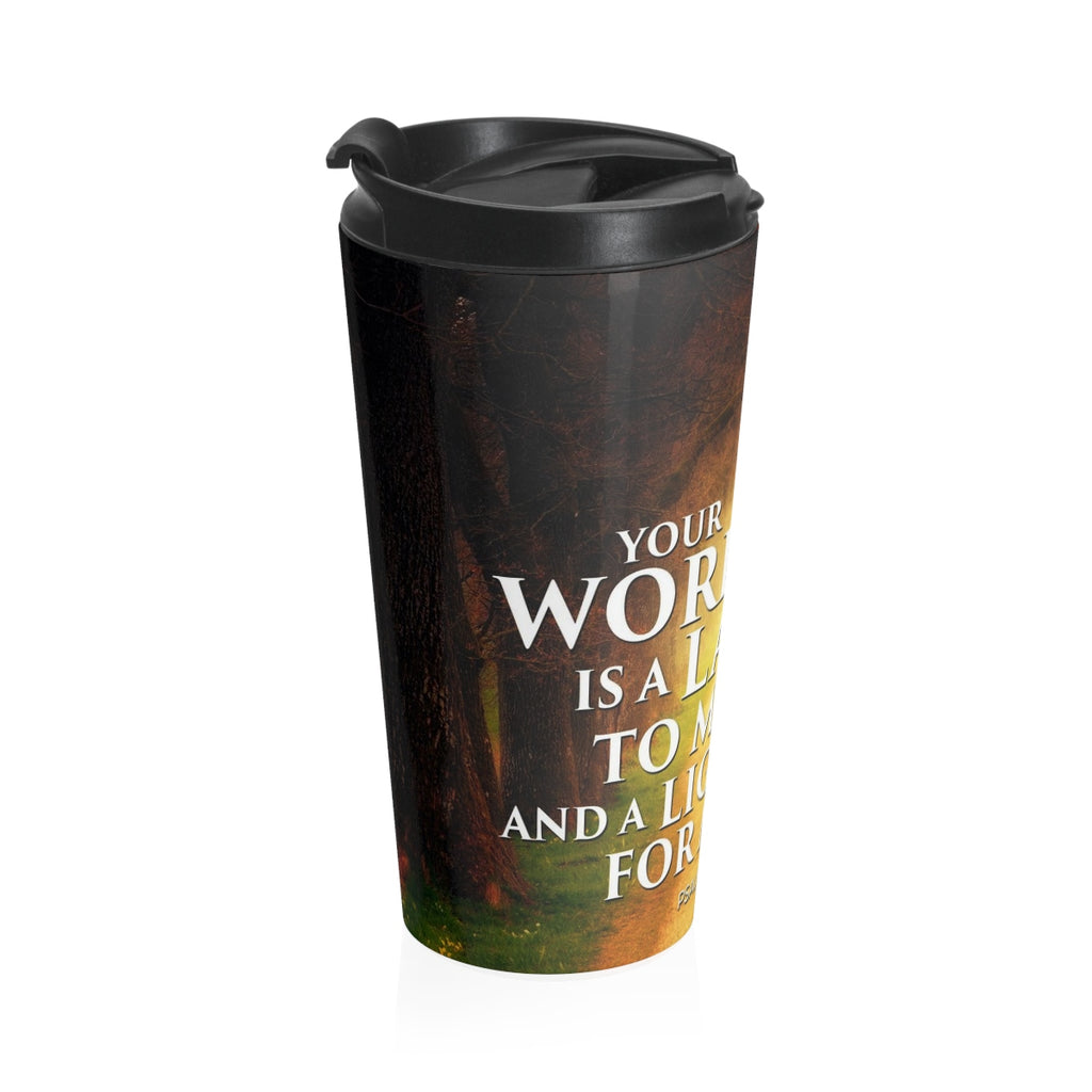 Christian Travel Mug 15 oz (Psalm 119:105, Your Word Is The Lamp Of My Feet)