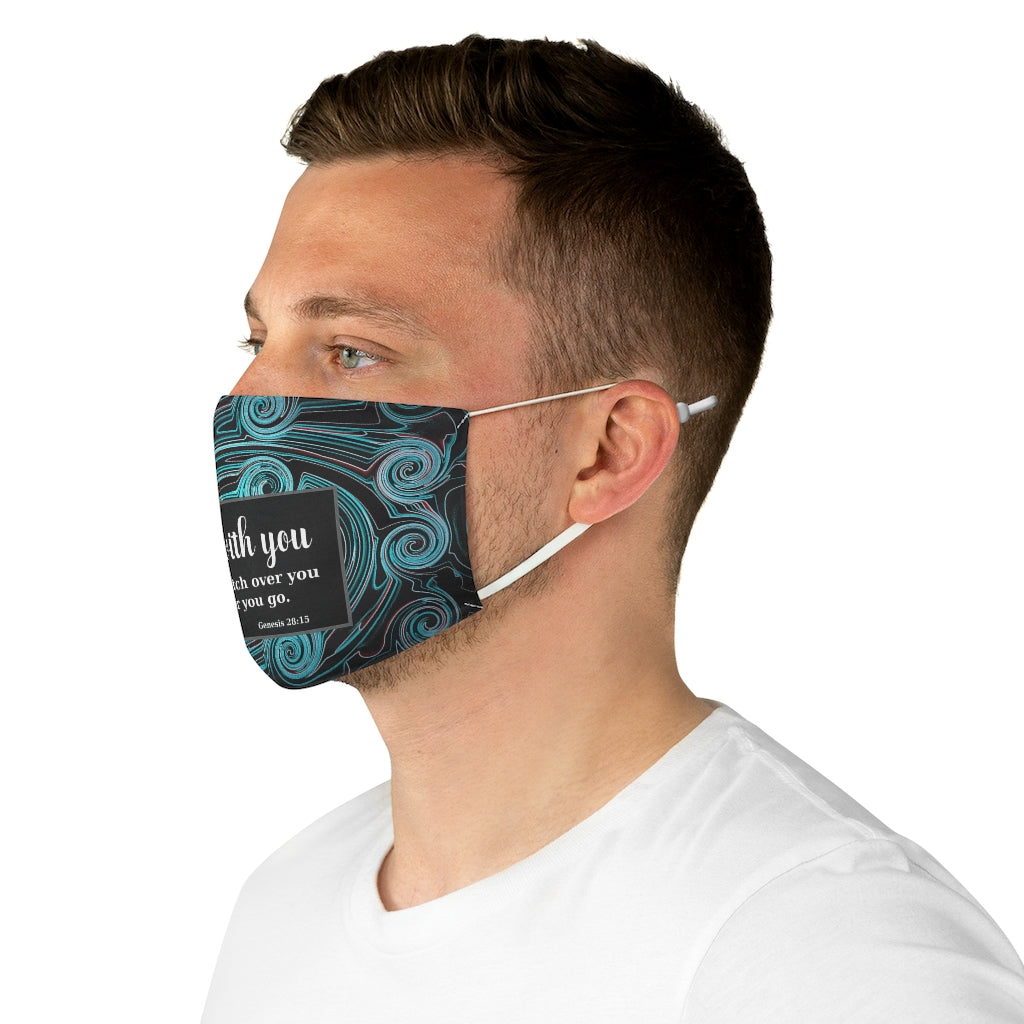 Reusable Face Mask - Scripture (Genesis 28:15) Unisex Face Mask - Polyester Double Layer Machine Washable Mask