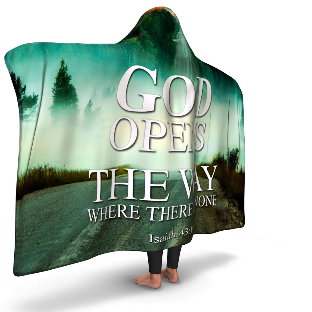 Christian Hooded Blanket - God Opesn The Way When There Is None, Scripture and Quotes Blanket, Outbound and Couch Blanket