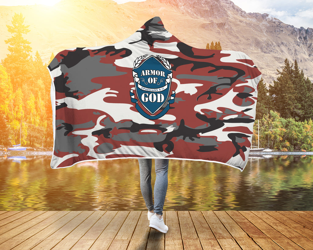 Camouflage Christian Hooded Blanket - Armor of God (Ephesians 6:11)