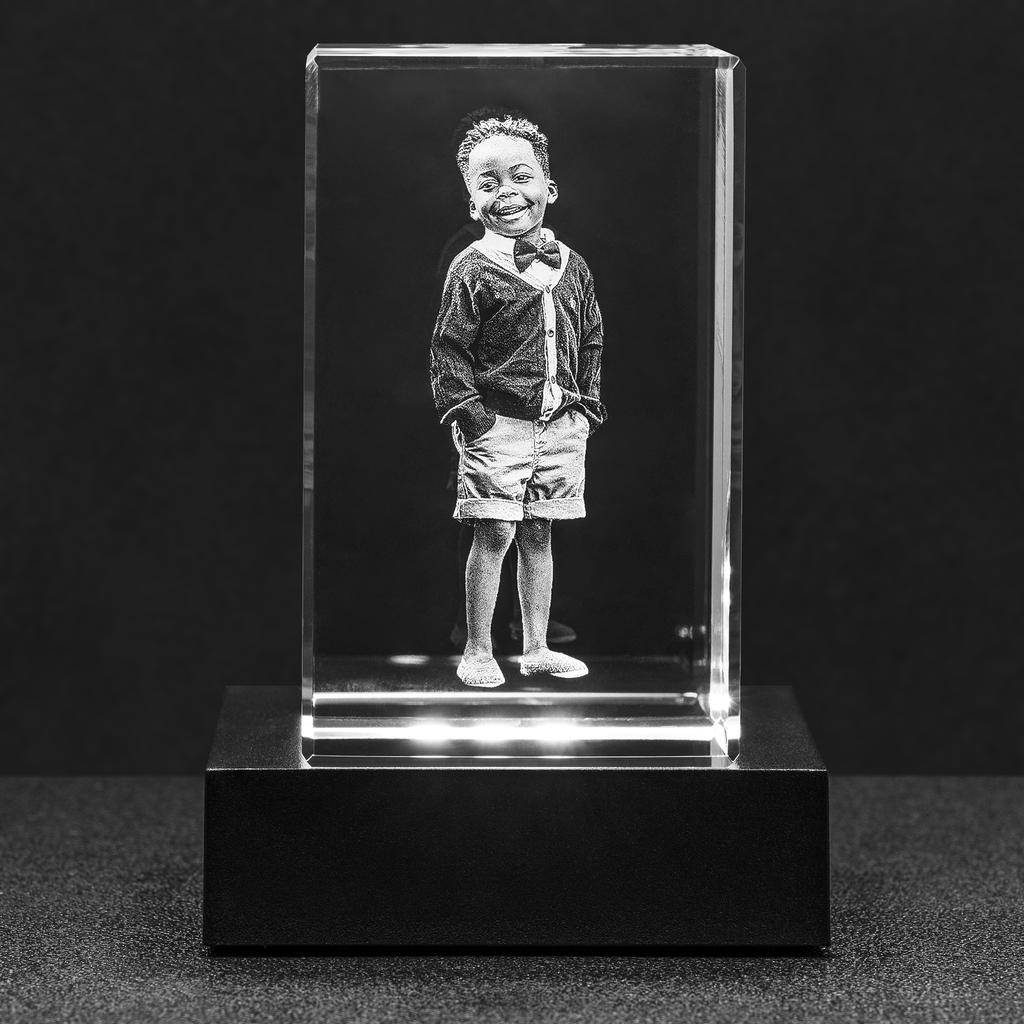 Personalized Photo Crystal Block w/ LED Light - Upload Your Own Image to be Etched Within Crystal