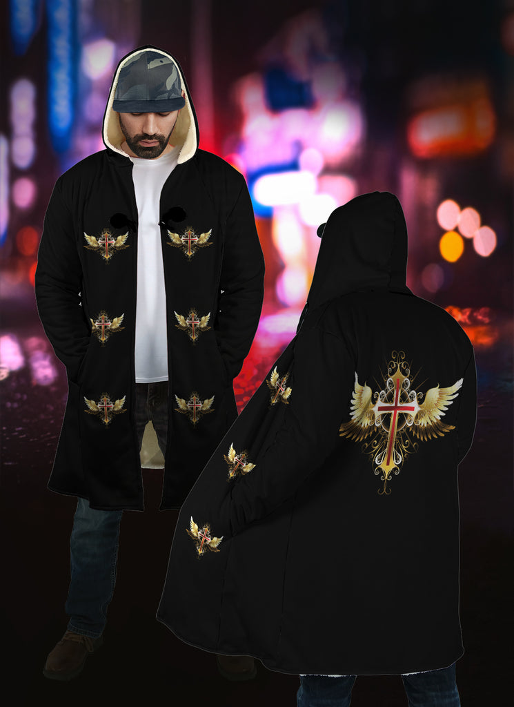 Hooded Cloak  - Christian Cloak(Cross with Wings)