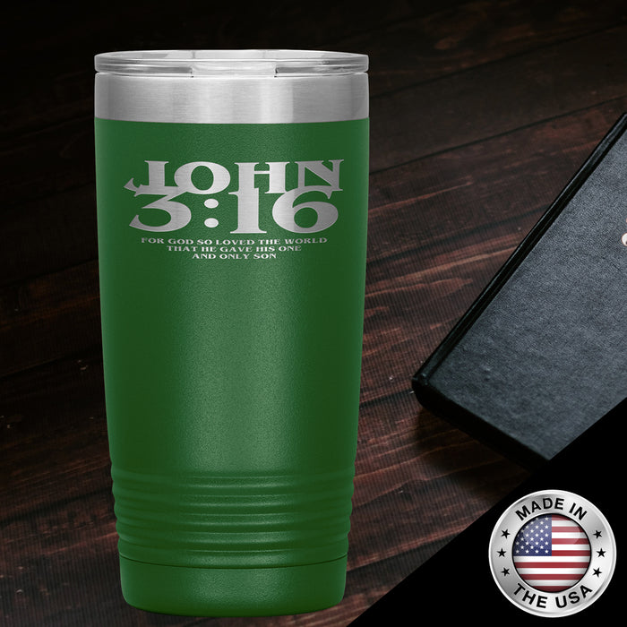 Christian Tumbler 20 oz (John 3:16, For God So Loved The World...)