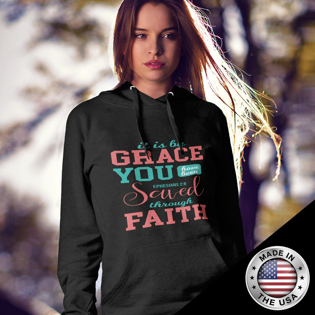 Christian Unisex Hooded Sweatshirt (Ephesians 2:8, It Is By Grace You Have Been Saved)