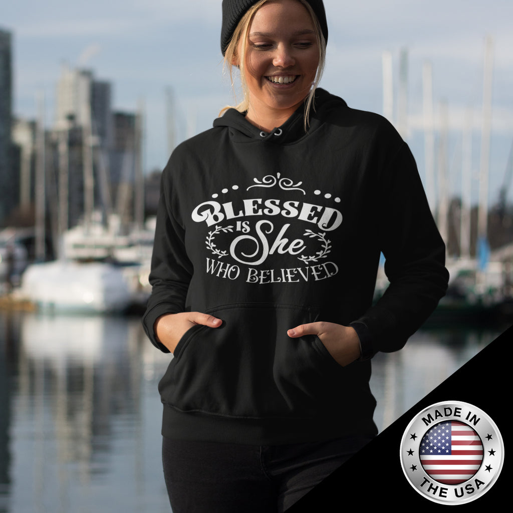Christian Women's  Hoodie (Blessed Is She Who Believed)