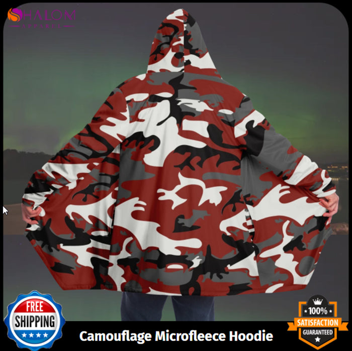 Camouflage Microfleece Cloak - Unisex Hooded Cloak - Winter Cloak