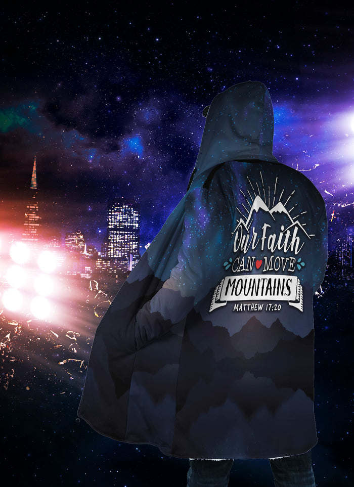 Christian Hooded Cloak - Our Faith Can Move Mountain (Matthew 17:20)