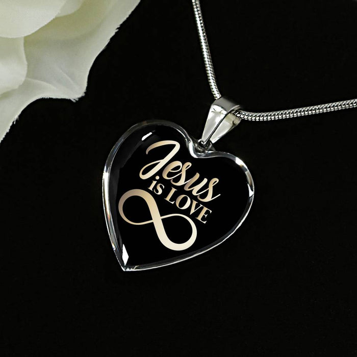 Heart Pendant Necklace (Christian Necklace - Jesus Is Love)