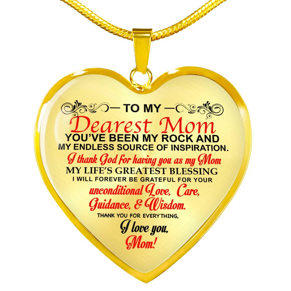 Heart Pendant Gold & Stainless Necklace (Gift for Mom Necklace)