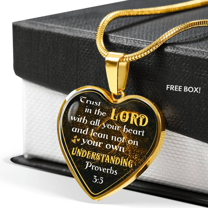 Heart Pendant Necklace - (Christian Necklace, Proverbs 3:5 Trust In The Lord With All Your Heart)