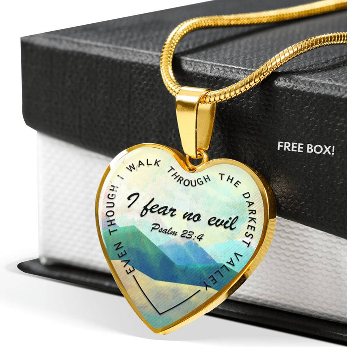 Psalm 23:4 Heart Pendant Necklace