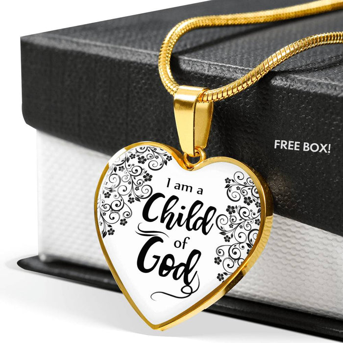 I Am A Child Of God Heart Pendant Necklace