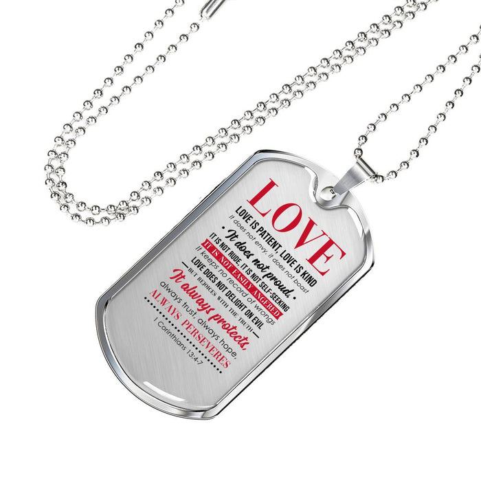 Christian Dog Tag - Love Is Patient - Scripture Necklace