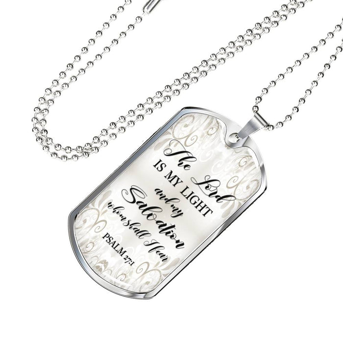Christian Dog Tag Necklace - The Lord Is My Light & Salvation (Psalm 27:1) - Scripture Necklace