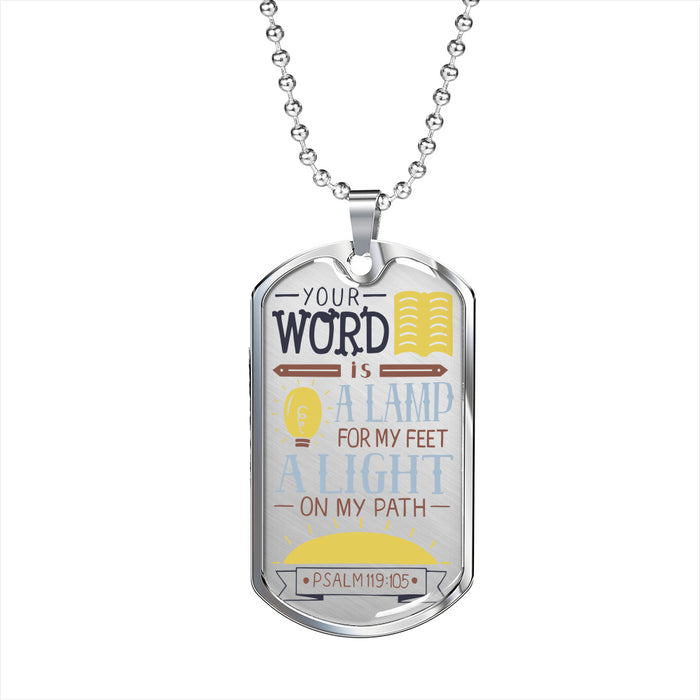 Psalm 119:105 Unisex Dog Tag Necklace - Scripture Dog Tag Necklace - Christian Military Necklace
