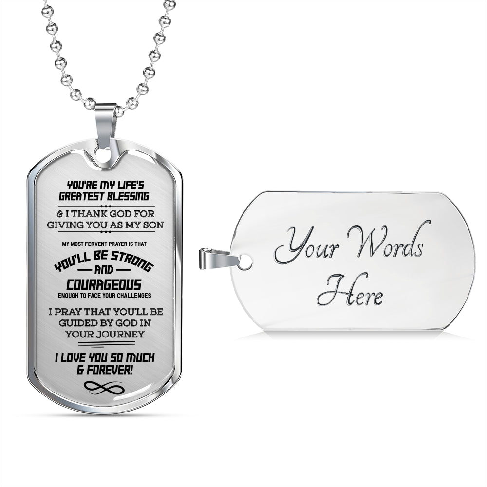 Dearest Son Silver Dog Tag / Military Necklace