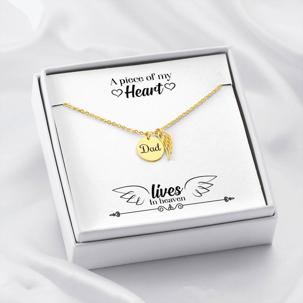 Dad Remembrance Necklace - A Piece Of My Heart Lives In Heaven