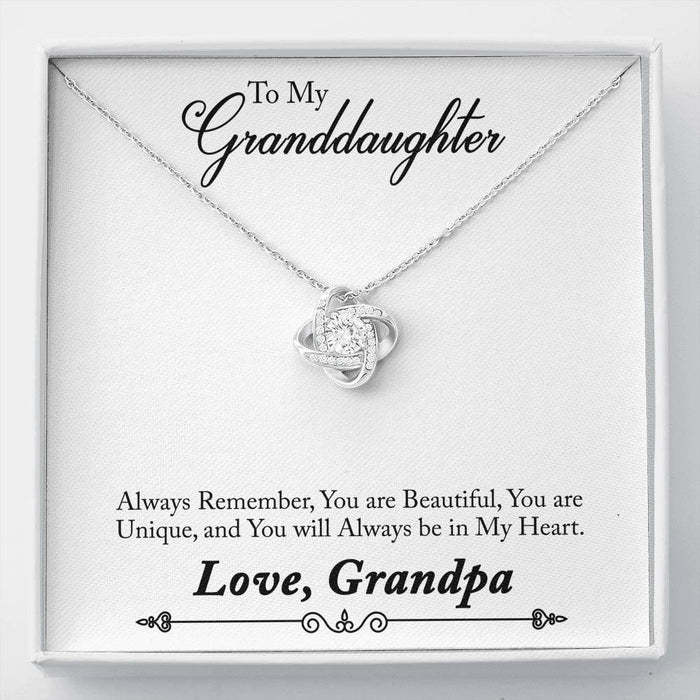 Granddaughter Necklace - Love Knot Necklace - Grandpa's Perfect Gift to Granddaughter