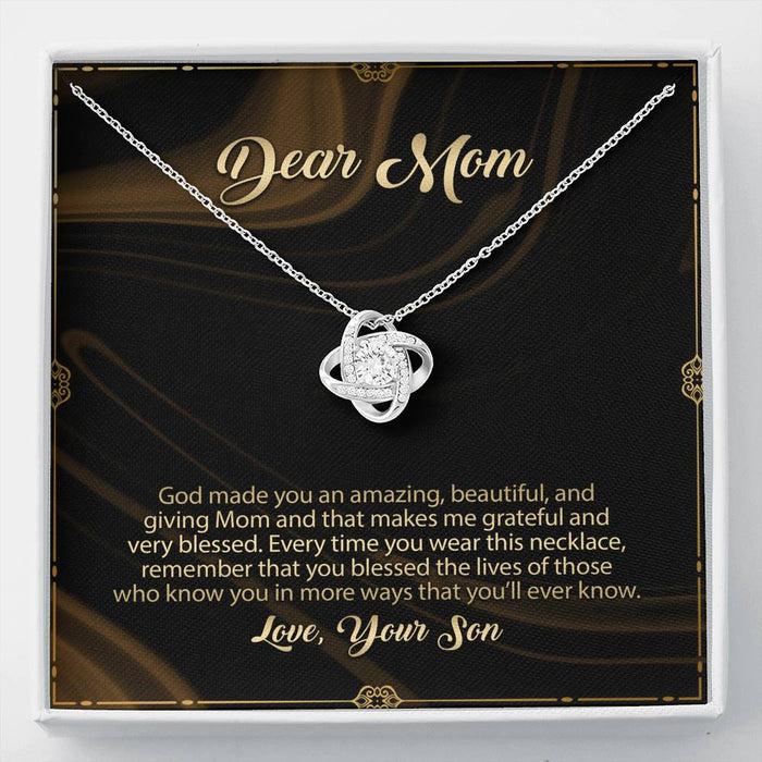 Mom's Necklace - Love Knot Pendant Necklace & Message Card - Son's Gift to Mom