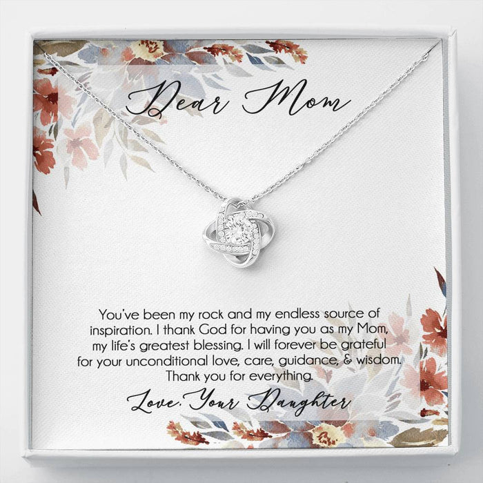 Mom Necklace - Love Knot Pendant Necklace & Message Card- Daughter's Gift to Mom
