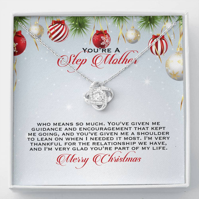 Stepmom Necklace - Love Knot Pendant Necklace & Message Card - Christmas Gift for Step Mother