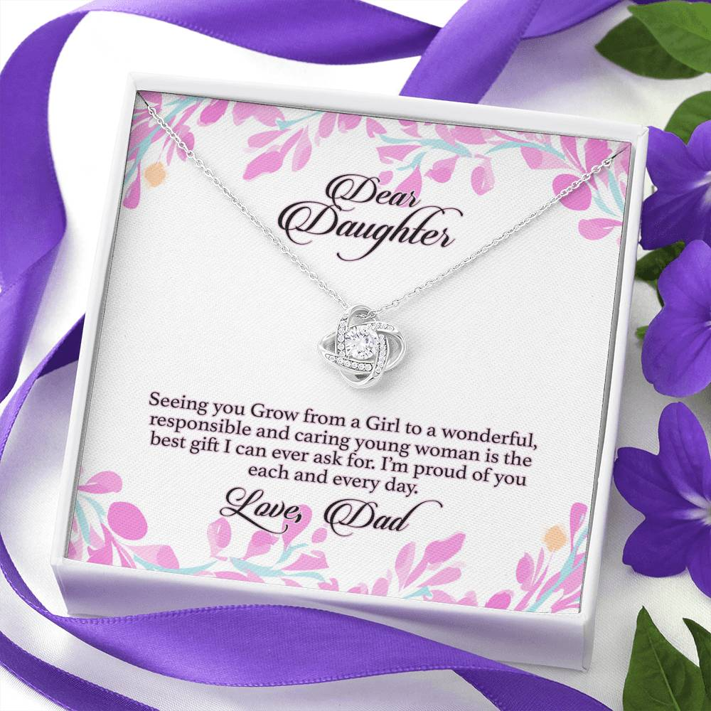 Daughter's Necklace - Love Knot Pendant Necklace & Message Card - Dad's Gift to Daughter