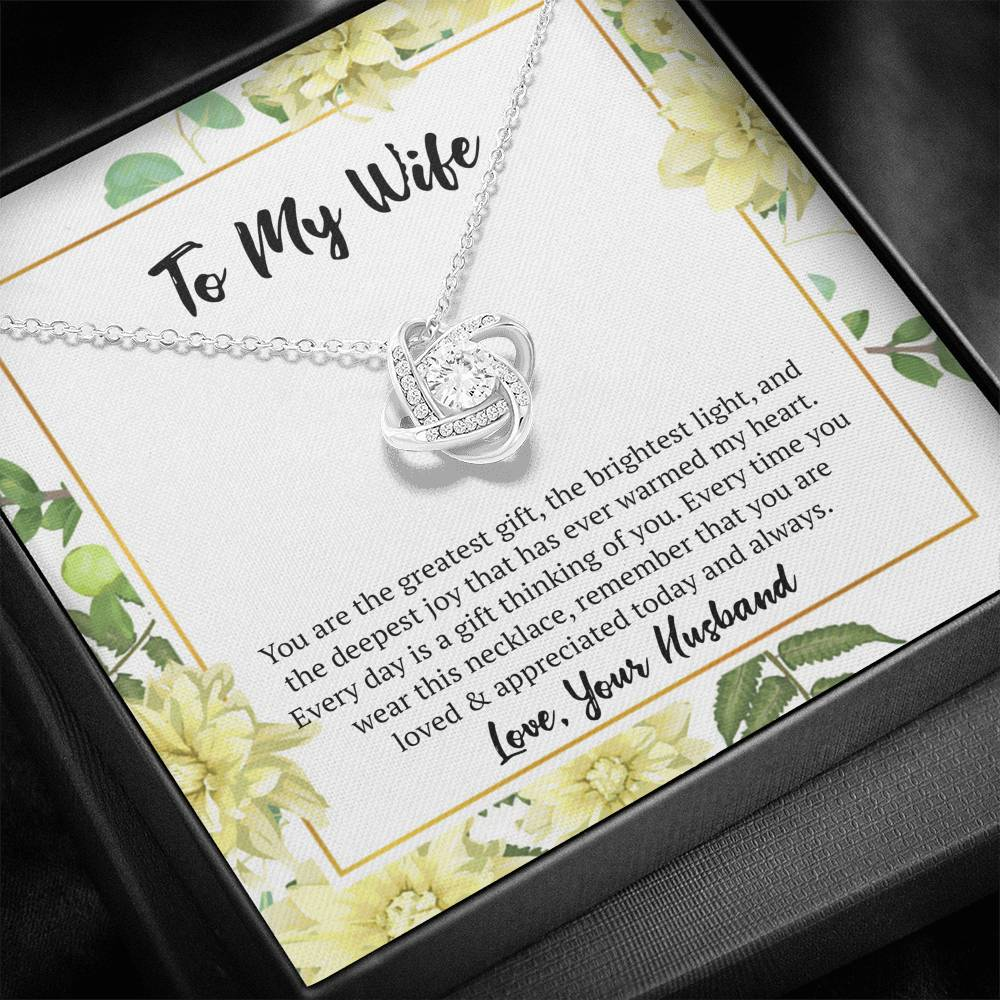 Wife's Necklace - Love Knot Necklace & Message Card