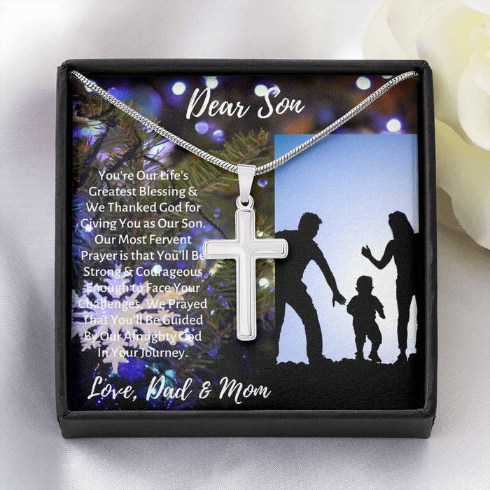 Son's Necklace - Cross Pendant Necklace & Message Card - Parent's Gift to Son