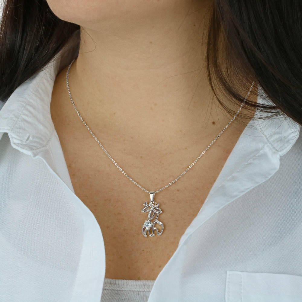 Daughter In-Law Necklace - Graceful Love Giraffe Pendant Necklace - Christmas Gift for Daughter In-Law
