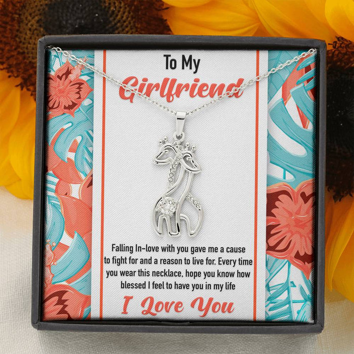 Girlfriend Necklace - Graceful Love Giraffe Pendant Necklace & Message Card