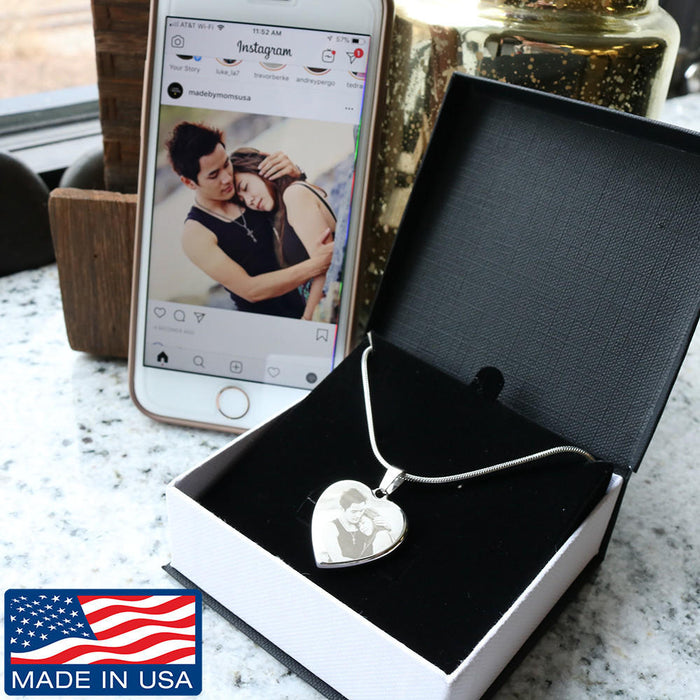 Personalized Photo Etched Heart Necklace - Upload Your Own Photo Gold and Stainless Heart Necklace