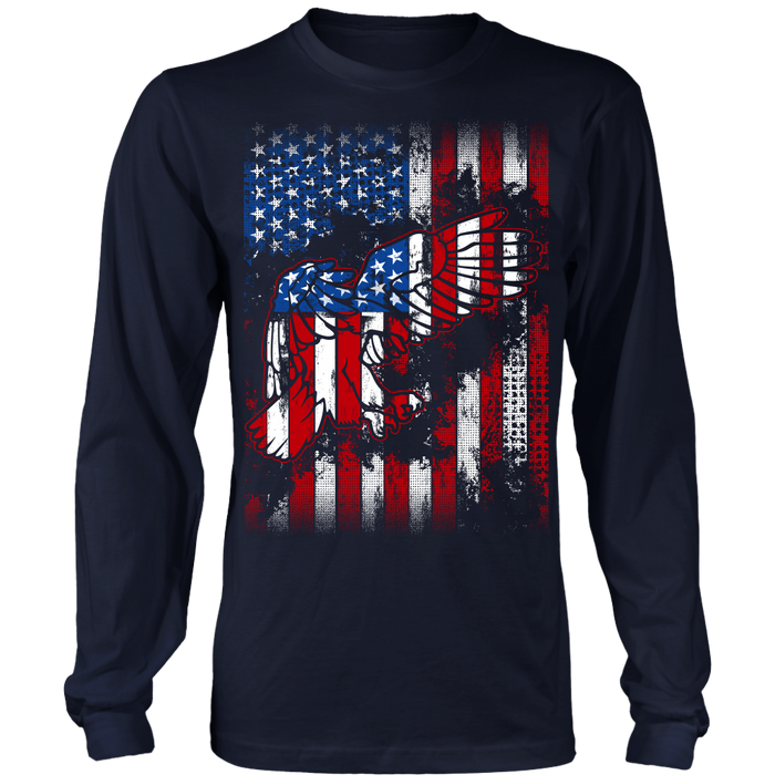 American Eagle Flag Long Sleeve Tee - Veteran Shirt - July 4th Tees