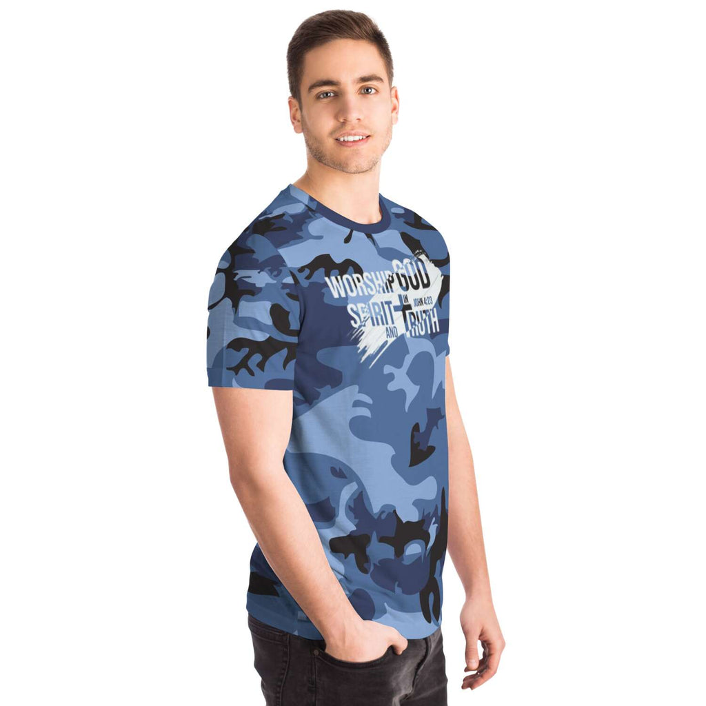 Men's Camouflage AOP Tee (Worship God In Spirit and In Truth)