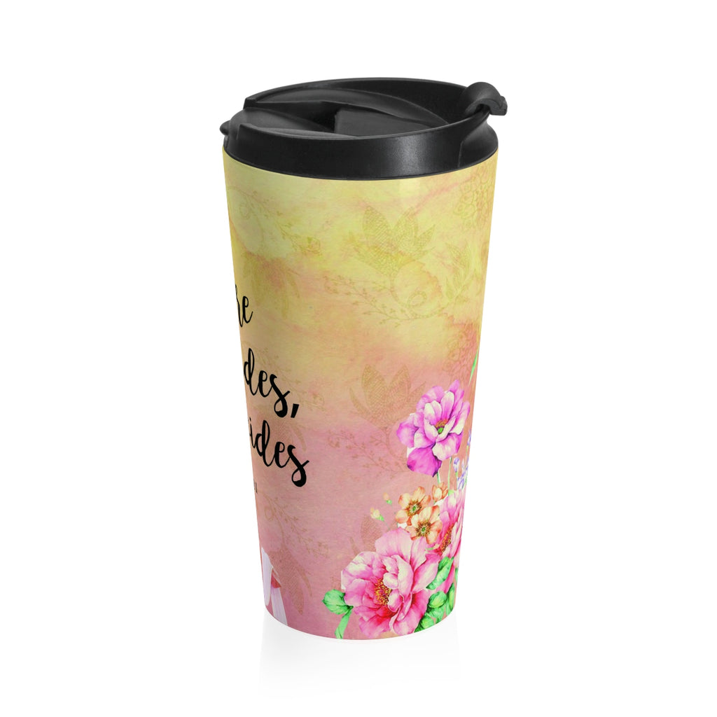 Christian Travel Mug 15 oz (Isaiah 58:11, Where God Guides He Provides)