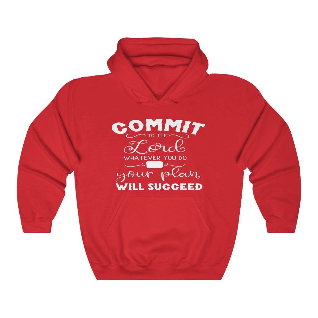Christian Unisex Hoodie (Commit To The Lord Whatever You Do & Your Plan Will Succeed)