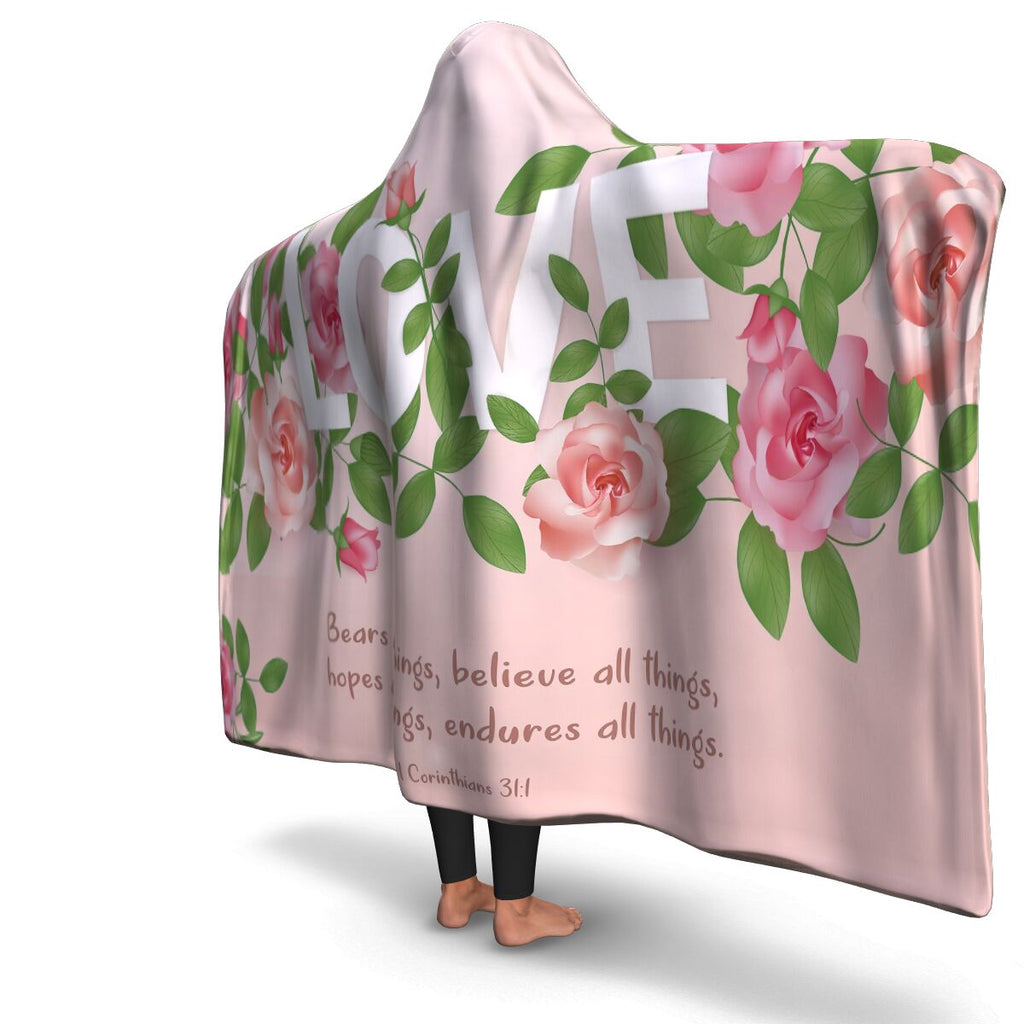 Christian Hooded Blanket - Love Bears All Things (1 Corinthians 31:1), Scripture and Quotes Blanket, Outdoor and Couch Blanket