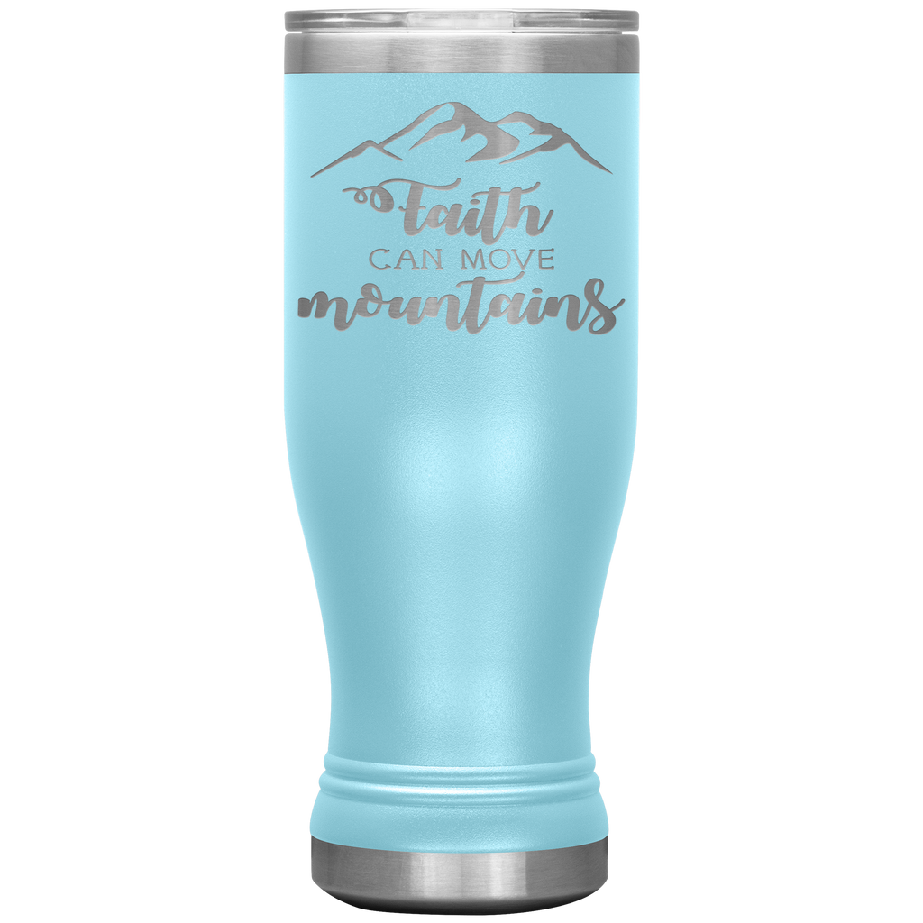 Faith Can Move Mountains 20oz Boho Tumbler - Engraved Stainless Steel Tumbler - Christian Gift
