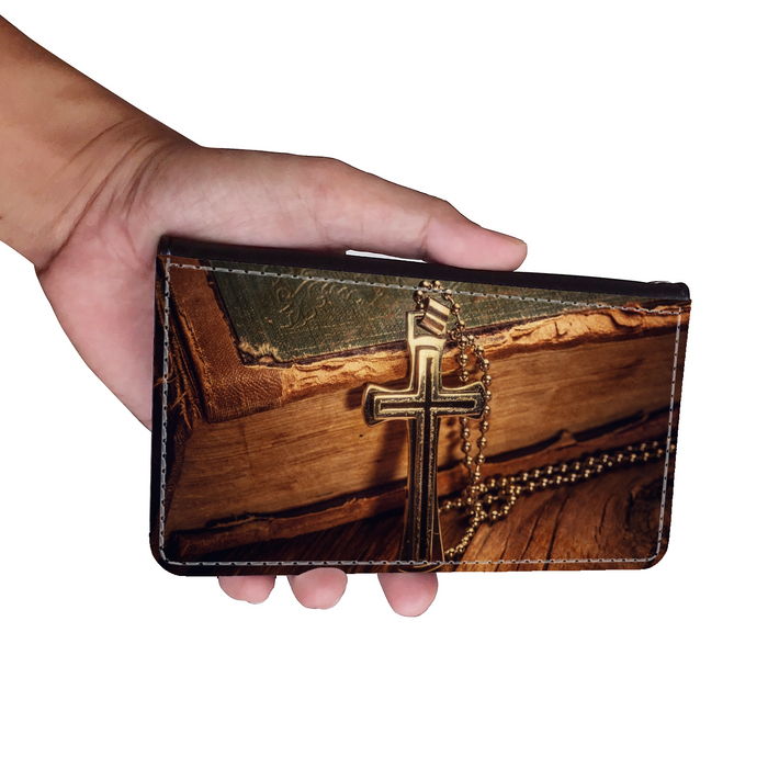 Bible & Cross Wallet Phone Case - Samsung Phone Case - Iphone Phone Case - Gift for Christians