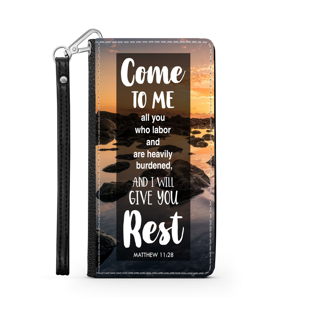 Wallet Phone Case (Samsung & Iphone) - Come To Me All You Who Labor and Are Heavily Burdened, Matthew 11:28