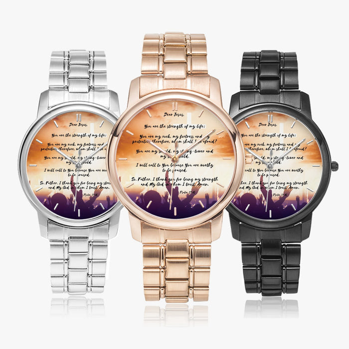 Prayer For Strength Stainless Steel Quartz Watch (Folding Clasp Type) - Christian Unisex Wristwatch