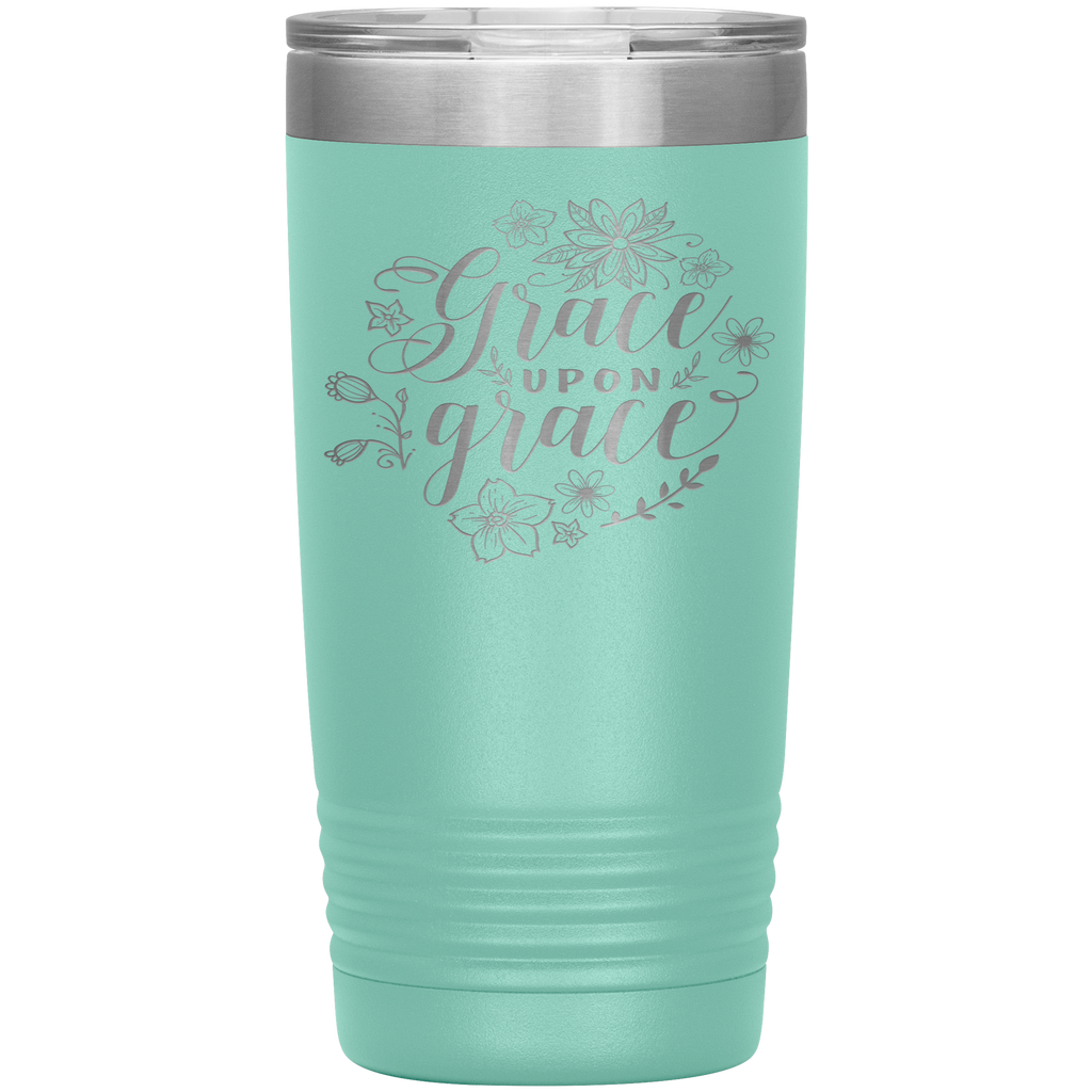 Christian Tumbler 20oz (Grace Upon Grace) - Scripture Travel Mug Perfect Gift for Christian Friends and Church Members