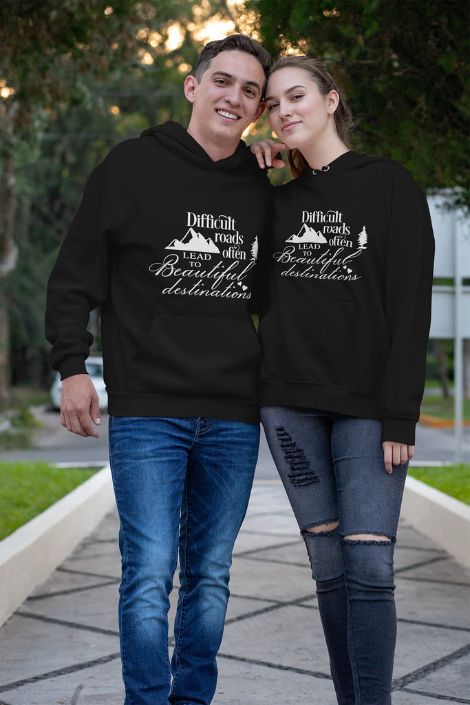 Christian Unisex Hoodie (Difficult Roads Often Leads To Beautiful Destinations)