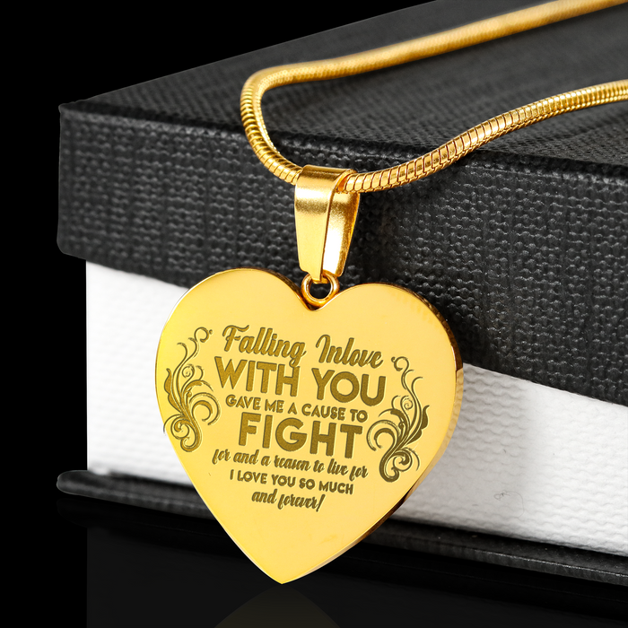 Falling In Love Gold Heart Engraved Pendant Necklace
